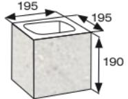 Wymiary pustaka łupanego na mur oporowy CJ BLOK PBE-19-1 N1/2