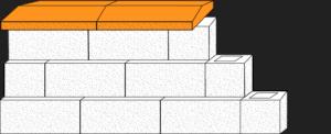 Element muru daszek dwuspadowy CJ BLOK DBL-42-2 łupany na pustaku oporowym PBO-25-P