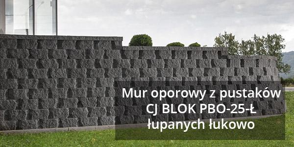 Mur oporowy z pustaków CJ BLOK PBO-25-Ł łupanych łukowo