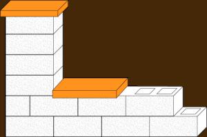 Element muru płyta betonowa elewacyjna CJ BLOK PBE-50/25 gładka na pustaku ogrodzeniowym PBE-19-2