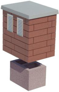 Komin wentylacyjny CJ BLOK z płytą kominową obmurowany cegłą