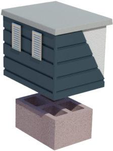 Komin wentylacyjny CJ BLOK z płytą kominową ocieplony i okuty blachą