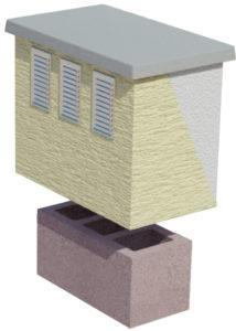 Komin wentylacyjny CJ BLOK z płytą kominową ocieplony i otynkowany