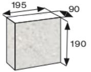 Wymiary palisada łupana CJ BLOK 19cm BBE-9-N1/2