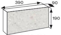 Wymiary bloczek łupany CJ BLOK 39cm BBE-9-1