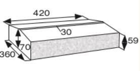 Wymiary daszek dwuspadowy dwustronnie łupany CJ BLOK DBL-42-2