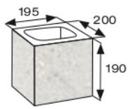 Wymiary pustaka łupanego CJ BLOK PBE-19-2-N1/2