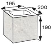 Wymiary pustaka łupanego CJ BLOK PBE-19-4-N1/2