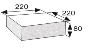 Wymiary płyty betonowej elewacyjnej narożnej CJ BLOK PBE-22/22-3 trzystronnie łupanej
