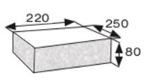 Wymiary płyty betonowej elewacyjnej narożnej CJ BLOK PBE-25/22-2 dwustronnie łupanej