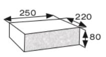 Wymiary płyty betonowej elewacyjnej CJ BLOK PBE-25/22-2 dwustronnie łupanej