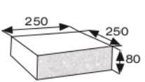 Wymiary płyty betonowej elewacyjnej CJ BLOK PBE-25/25-1 jednostronnie łupanej