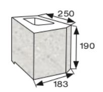 Wymiary pustak oporowy narożny CJ BLOK PBO-25-Ł-1/2 dwustronnie łupany prosto narożny