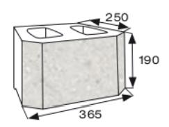 Wymiary pustak oporowy CJ BLOK PBO-25-Ł jednostronnie łupany łukowo
