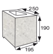 Wymiary pustak oporowy narożny CJ BLOK PBO-25-P-1/2 dwustronnie łupany prosto narożny
