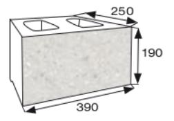 Wymiary pustak oporowy CJ BLOK PBO-25-P jednostronnie łupany prosto