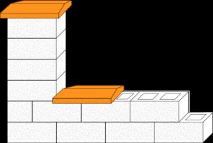 Element muru daszek dwuspadowy CJ BLOK DBL-42-2 dwustronnie łupany na pustaku ogrodzeniowym PBE-19-2