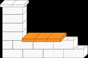 Element muru płyta betonowa elewacyjna CJ BLOK PBE-25/22 dwustronnie łupana na pustaku ogrodzeniowym PBE-19-2