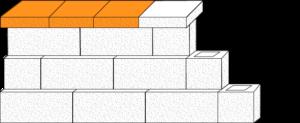 Element muru płyta betonowa elewacyjna CJ BLOK PBE-25/25 jednostronnie łupana na pustaku oporowym PBO-25-P