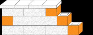 Element muru pustak oporowy narożny CJ BLOK PBE-19-1-N-1/2 dwustronnie łupany połówka