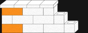 Element muru pustak oporowy narożny CJ BLOK PBE-19-N1/1 dwustronnie łupany